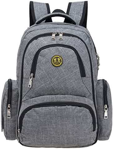 Upgraded Version Baby Diaper Bag Smart Organizer Waterproof Travel Diaper Backpack with Changing Pad and Stroller Clips (Grey)
