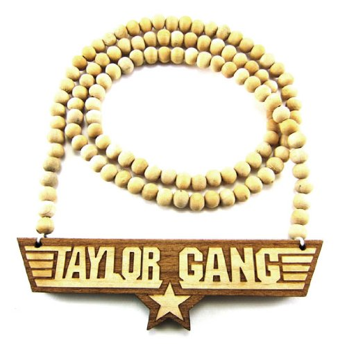 """Hip Hop Jewels Wooden Taylor Gang Pendant Piece 36"""" Bead Chain Good Wood Style"""