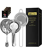Cocktail Strainer - Koviti 3 Piece Bartender Kit - Stainless Steel Cocktail Strainer Set, Premium Bar Set for Home, Bars, Parties and Traveling