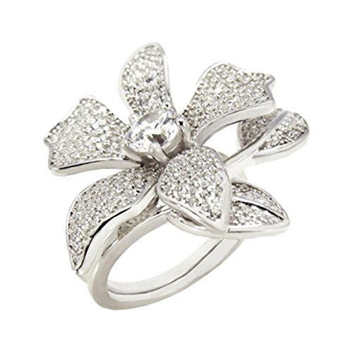 Silver Two Finger Ring (Hinged 1 or 2 Finger ring Flower designer 23 mm Wide Brilliant cut 925 Silver)