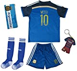 2017 Argentina LIONEL MESSI #10 Away Soccer Kids Jersey & Short Set Youth Sizes (Away, 7-8 Years)