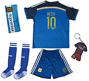 2017 Argentina LIONEL MESSI #10 Away Soccer Kids Jersey & Short Set Youth Sizes (Away, 3-4 Years)
