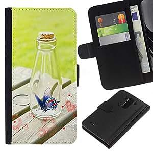 EJOY---La carpeta del tirón la caja de cuero de alta calidad de la PU Caso protector / LG G3 / --Botella Diseño Mariposa