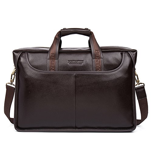 (BOSTANTEN Leather Lawyers Briefcase Laptop Messenger Business Bags for Men Brown)