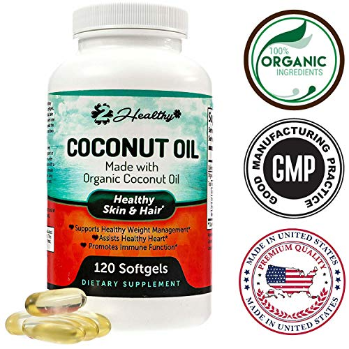 Organic Coconut Oil Capsules - 2000mg Pure Extra Virgin Raw Coconut Oil Supplements for Skin, Healthy Weight Loss, Hair Growth. Rich in MCFA & MCT for Keto Diets. Natural & Non-GMO 120 Softgels Pills.