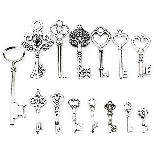 LolliBeads (TM) Antiqued Silver Plated Assorted Key Charm Set Necklace Pendant, Victorian Filigree Heart Royal Key (14 Pcs) ()