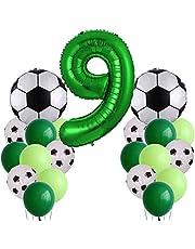Voetbal verjaardagsdecoratie 9 jaar kinderverjaardag decoratie jongens grote voetbal luchtballon verjaardag decoraties - nummer 9 ballon, voetbal folieballon, groene ballon voor voetbal themafeest