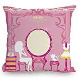 Throw Pillow Cushion Cover,Girls,Lady Sitting in front of French Cosmetic Make Up Mirror Furniture Dressy Design,Pink Yellow,Decorative Square Accent Pillow Case