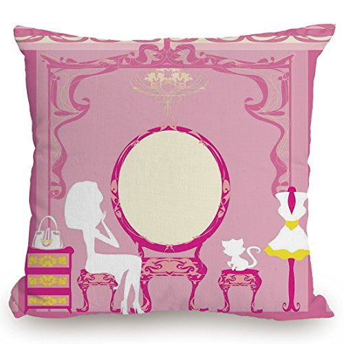 Throw Pillow Cushion Cover,Girls,Lady Sitting in front of French Cosmetic Make Up Mirror Furniture Dressy Design,Pink Yellow,Decorative Square Accent Pillow Case by KissCase