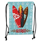 Custom Printed Drawstring Sack Backpacks Bags,Surf,Illustration of Modern Aloha Surfboards with Hibiscus Tribal Mask Flame Extreme Sports,Multicolor Soft Satin,5 Liter Capacity,Adjustable String Closu