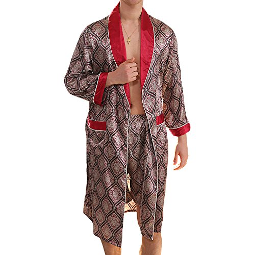 MAGE MALE Men's Summer Luxurious Kimono Soft Satin Robe with Shorts Nightgown Long-Sleeve Pajamas Printed Bathrobes (Red, XXL)