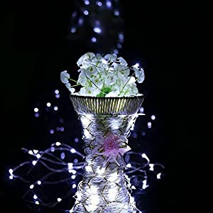 Outdoor String Lights 8 Modes 33ft 100LED Copper Wire Fairy Starry String Lights Battery Powered with Remote Control for Indoor Christmas Waterproof Lighting (white)