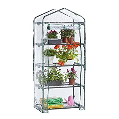 VonHaus 4 Tier Portable Mini Compact Greenhouse with Clear PVC Cover - Unit: 63 x 28 x 20 inches