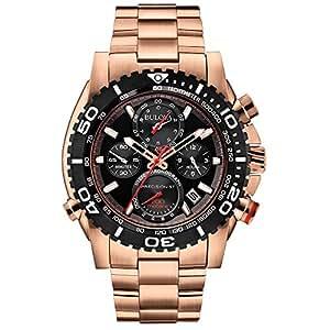 Bulova 98B213 - Reloj  de Cuarzo para Hombre, correa de Acero inoxidable chapado en oro rosa color Negro