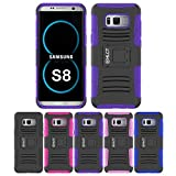 Galaxy S8 Case, HLCT Rugged Shock Proof Dual-Layer PC and Soft Silicone Case With Built-In Kickstand for Samsung Galaxy S8 (2017) (Purple)