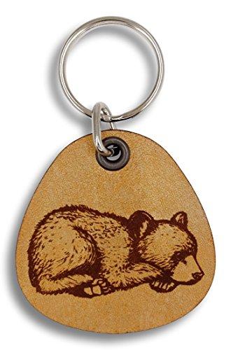 ForLeatherMore - Sleepy Bear Cub - Genuine Leather Keychain - Wildlife keychains