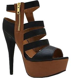 840738fb357 Fashare Womens Peep Toe Strappy Cutout Platform Stilettos Pumps High Heels  Sandals Shoes