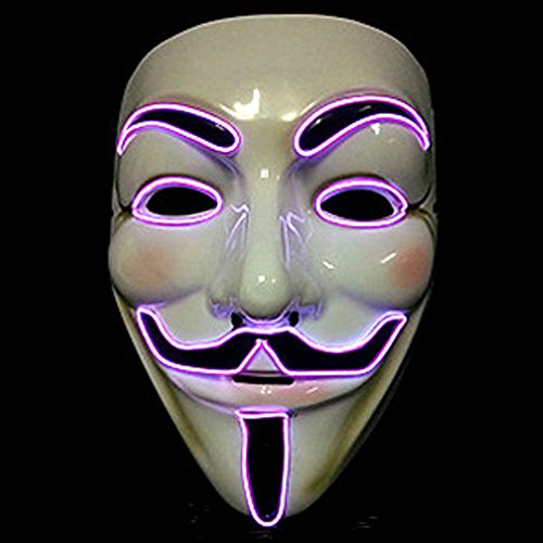 [Bonamana Cool V for Vendetta Guy Fawkes Mask LED Light Up Mask Costume EL Wire Halloween Mask] (Rorschach Halloween Costumes)
