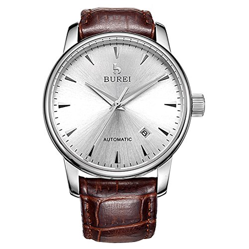 [BUREI Men's Elegant Automatic Watch Silver with Date Sapphire Glass and Brown Leather Strap] (Brown Sapphire)