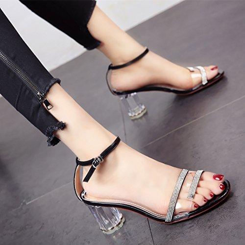 de Verano a Sandalias tacón Tobillo Toe Diamante Moda YMFIE Correa de Toe cómoda Transparentes Temperamento Señoras de Zapatos Zapatos 05wwAUq