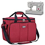HOMEST Sewing Machine Carrying Case with Multiple Storage Pockets, Universal Tote Bag with Shoulder Strap Compatible with Most Standard Singer, Brother, Janome (Red)