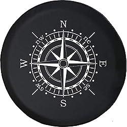 556 Gear Compass Sun Dial Jeep RV Spare Tire Cover Black 31 in