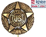 Gettysburg Flag Works Vietnam War Veteran Bronze Grave Marker for Cemetery, Memorial Flag Holder, Made in USA