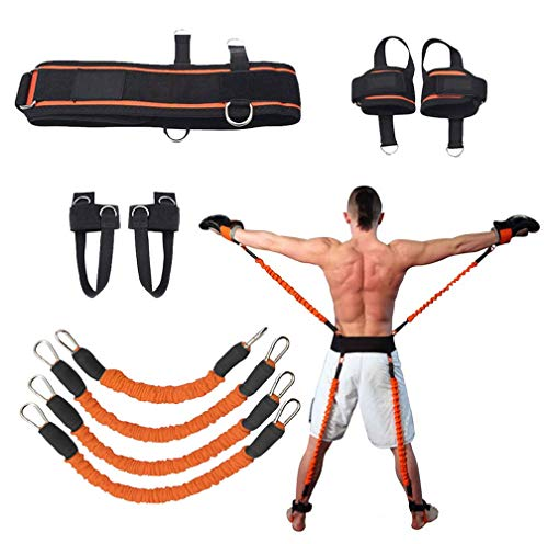 Sunsign 9-pcs Resistance Band Exercises Set for Arms and Legs Train Band Workout for Physical Therapy and Basketball Kick Boxing Training Stackable Up to 160lb (Resistance Training Belt)