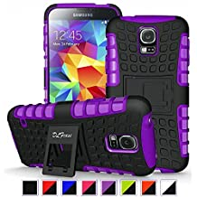 S5 Case ,Galaxy S5 Case, DLF Case [ Shockproof ] Samsung Galaxy S5 Case Heavy Duty Rugged Dual Layer TPU Textured Non Slip Reinforced Polycarbonate Hybrid Case for Samsung Galaxy S5 with Kickstand and Free Screen Protector (Black+Purple)