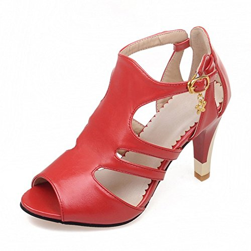 Aisun Womens New Hollow Out Peep Toe Dressy Stiletto High Heels Sandals Shoes With Buckle Red cXzSJ68U