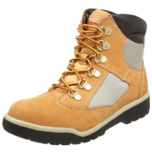 Youth Wheat Nubuck Kids Shoes (Timberland 6-Inch Leather and Fabric Field Boot (Toddler/Little Kid/Big Kid),Wheat Nubuck,5 M US Big Kid)