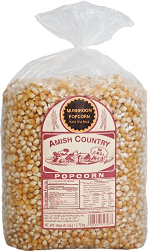 Amish Country Popcorn - Mushroom Popcorn (6 Pound Bag) - Old Fashioned, Non GMO, Gluten Free, Microwaveable, Stovetop and Air Popper Friendly - with Recipe Guide ()