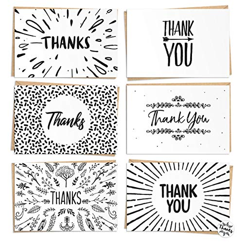 120 Thank You Cards Bulk - Thank You Notes - Blank Note Cards with Craft Paper Envelopes - Perfect for Business, Wedding, Graduation, Bridal and Baby Shower - 4x6 - Includes Labels