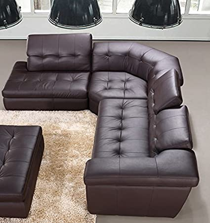 Amazon.com: Modern 397 Italian Leather Sectional Sofa in Chocolate ...