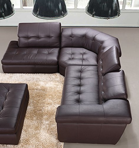 Modern 397 Italian Leather Sectional Sofa in Chocolate