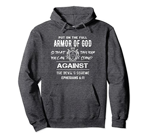 Unisex Armor of GOD Hoodie - Christian Bible Verse Gift XL: Dark Heather