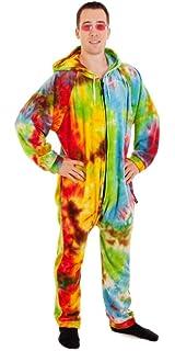 92a6071b95 Amazon.com  Colortone Tie Dye Zip Up Onesie Unisex All in One  Clothing