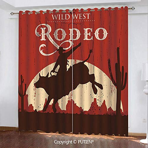 Satin Grommet Window Curtains Drapes [ Vintage,Rodeo Cowboy Riding Bull Wooden Old Sign Western Wilderness at Sunset Image,Redwood Orange ] Window Curtain for Living Room Bedroom Dorm Room Classroom K