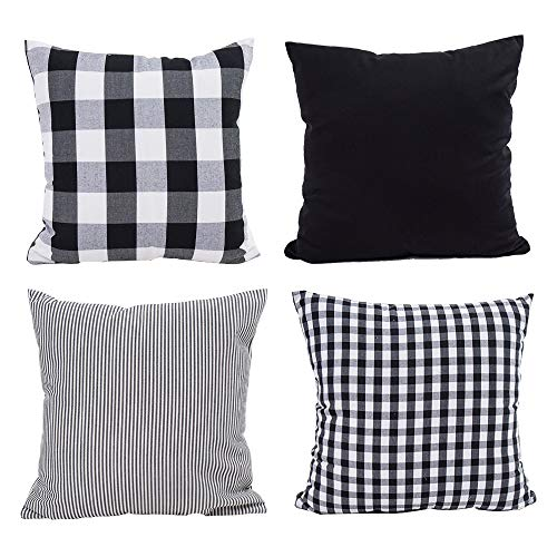 TEALP Black and White Pillow Cover Buffalo Check Farmhouse Pillow Covers 18 x 18 in Cushions for Sofa, Set of 4