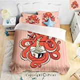 Homenon Luxury 4-Piece Bed Sheet,Hide Zipper Closure,A Cartoon Octopus Eating Asian Noodles with Chopsticks in Tentacles Retro Style Decor,Orange Pink,King Size