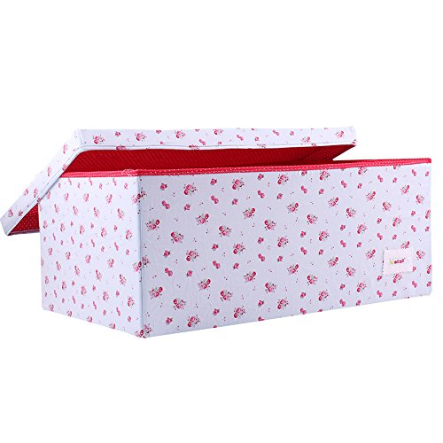 Minene–Caja de almacenaje con tapa azul con rojo flores–Star caja de almacenaje, tamaño grande caja de almacenamiento de tela–Ideal para guardar juguetes, Kids almacenamiento 21103