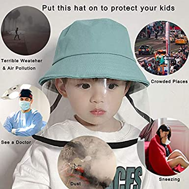 Romacci Kids Protective Face Shield Hat Anti Dust Anti Pollution Hat Child Anti-Spitting Splash Hat Anti-Saliva Hat Non-removable Protective Facial Windproof Anti-Fog Hat Boys Girls Cotton Sun Hat