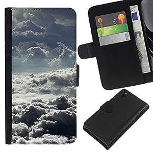 EJOY---La carpeta del tirón la caja de cuero de alta calidad de la PU Caso protector / Sony Xperia Z3 D6603 / --Nubes de tormenta Dios motivación Sun