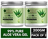 Bliss of earth 99% Pure Crystal Clear Aloe Vera Gel | PACK OF 2X200GM | Great For Face, Body & Hair | Effective Cooling, Soothing & Hydrating | Paraben Free |