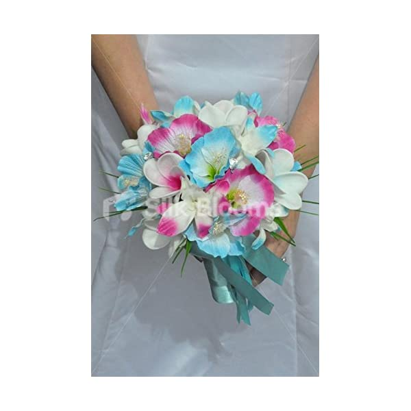Tropical Artificial Fresh Touch Pink Centred Frangipani Bridal Bouquet with Pink and Blue Silk Hibiscus