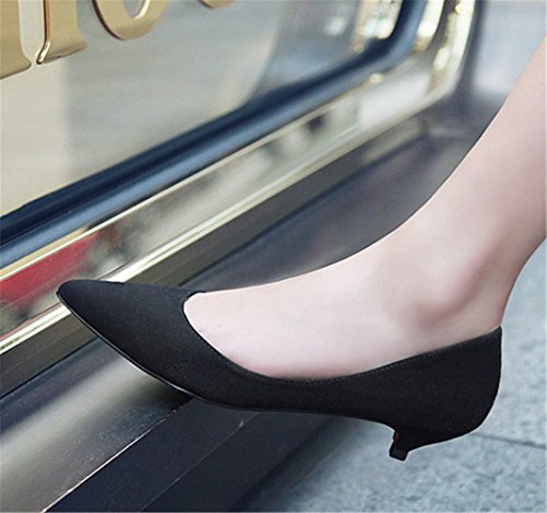 Kitten Para De Zapatos Mujer Bajo Tacón Clásico Aguja Negro Mogeek Y6HqUww 4cec95f18a78