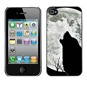 Impact Case Cover with Art Pattern Designs FOR iPhone 4 / 4S Wolf Hauling Moon Wild Trees Nature Animal Betty shop