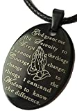 Praying Hands Serenity Prayer Black & Silver Stainless Steel Pendant Rope Necklace Dog Tag Style