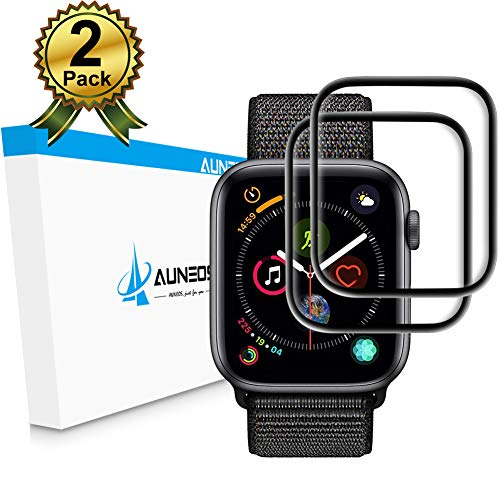 Apple Watch Screen Protector Series 4 [2 Pack] [Easy Align Tool] AUNEOS 44MM Series 4 Screen Protector for Apple Watch [Case Friendly] 3D Curved Tempered Glass for Apple Watch 4 (44mm, Black)