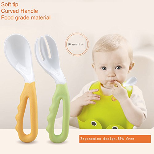 Reizbaby Easy-to-Hold Baby Spoon and Fork Set with Curved Handle Gum-Friendly BPA Free Feeding Gift for Toddlers 6 Pcs by REIZBABY (Image #2)